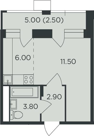 Студия, 29.2 м²