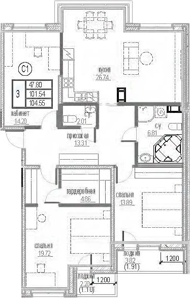 3-комнатная 107 м<sup>2</sup> на 12 этаже