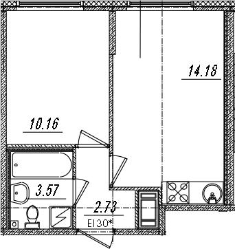 2-комнатная 30 м<sup>2</sup> на 10 этаже