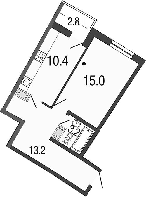 1-комнатная 44 м<sup>2</sup> на 19 этаже