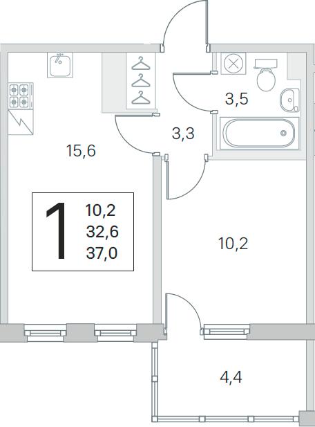 2-комнатная 37 м<sup>2</sup> на 5 этаже