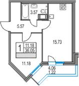 2-комнатная 40 м<sup>2</sup> на 12 этаже