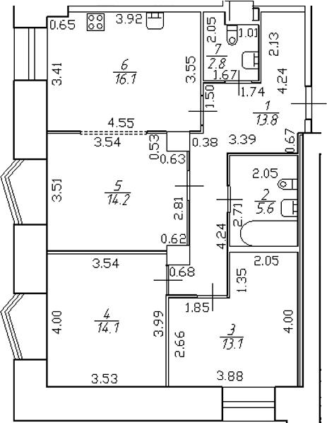 4-комнатная 79 м<sup>2</sup> на 2 этаже