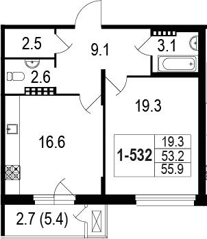 2-комнатная 58 м<sup>2</sup> на 5 этаже