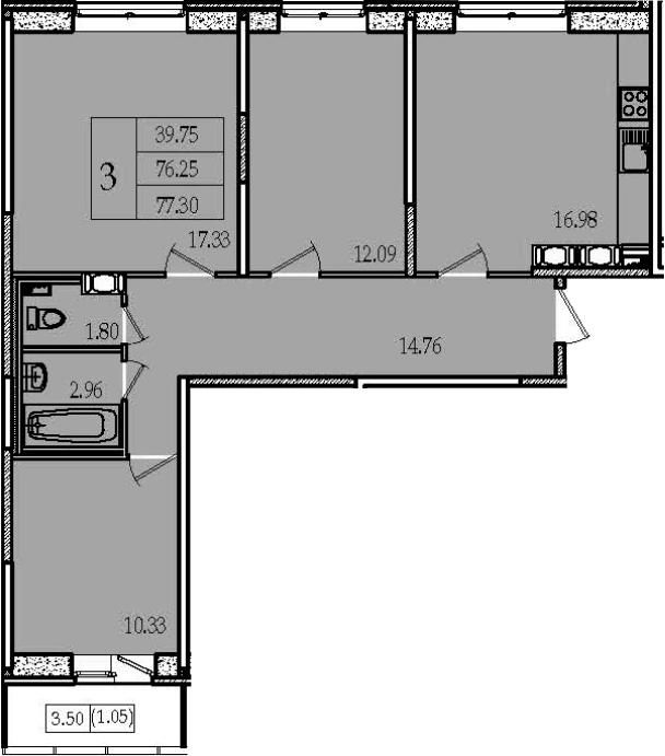 4-комнатная 79 м<sup>2</sup> на 13 этаже