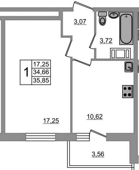 1-к.кв, 38.22 м²