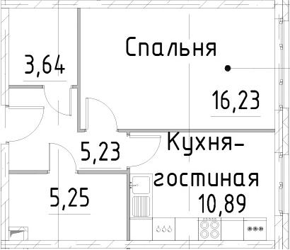 1-к.кв, 41.24 м²
