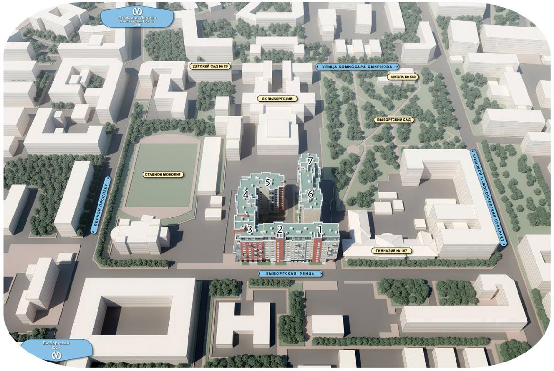 План жилого комплекса ЖК Дом на Выборгской