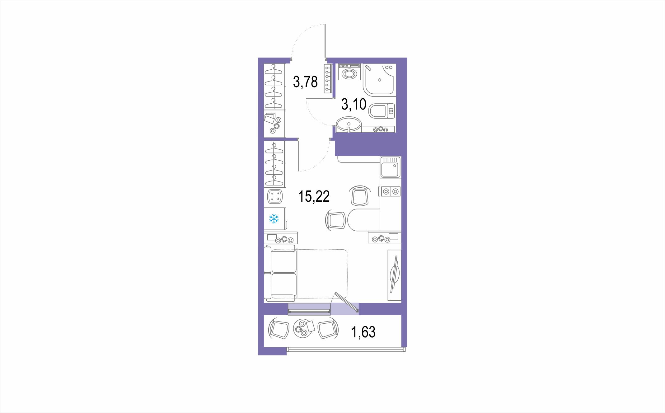 Студия 25 м<sup>2</sup> на 22 этаже