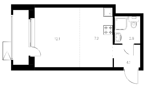 Студия 30 м<sup>2</sup> на 19 этаже