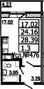 Студия, 28.39 м²