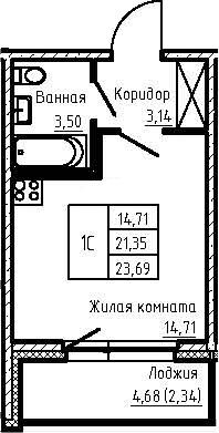 Студия 26 м<sup>2</sup> на 1 этаже