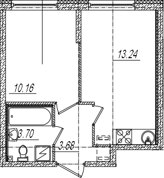2-комнатная 30 м<sup>2</sup> на 2 этаже