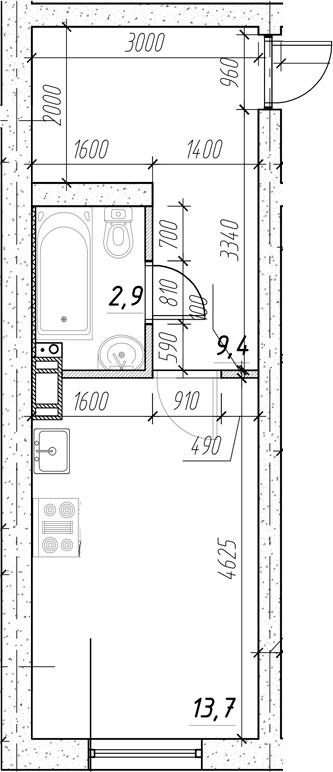 Студия, 28.67 м²