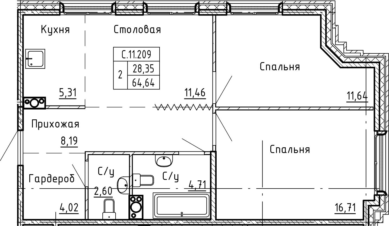 3-комнатная 64 м<sup>2</sup> на 11 этаже