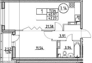 2-комнатная 43 м<sup>2</sup> на 4 этаже