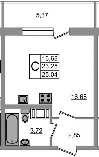 Студия, 28.62 м²