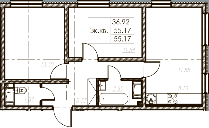 3-комнатная 55 м<sup>2</sup> на 3 этаже