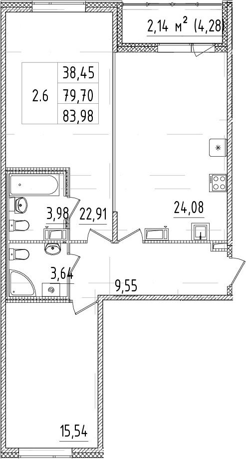 3-комнатная 83 м<sup>2</sup> на 14 этаже