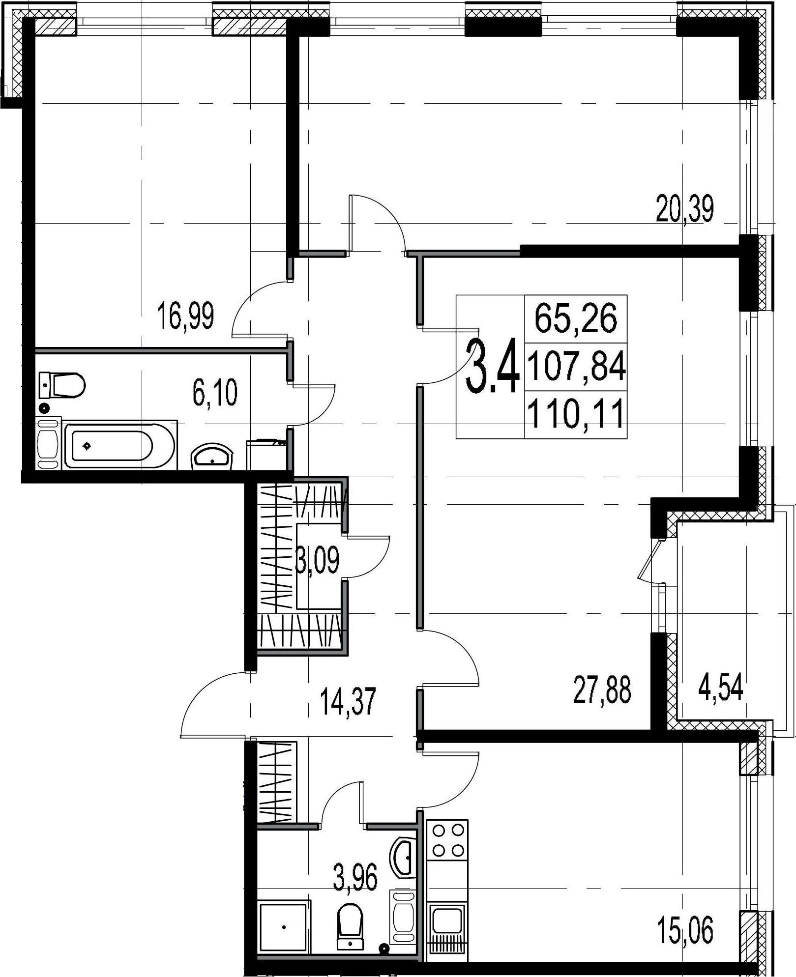 3-комнатная 112 м<sup>2</sup> на 7 этаже