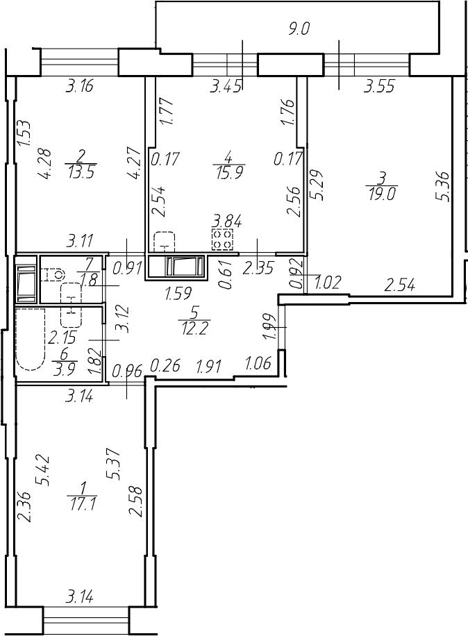 4-комнатная 92 м<sup>2</sup> на 17 этаже