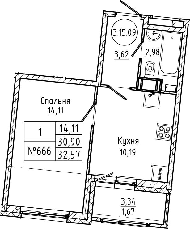 1-комнатная 34 м<sup>2</sup> на 15 этаже