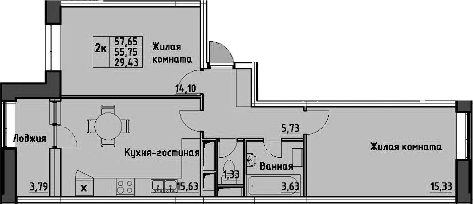 2-комнатная 59 м<sup>2</sup> на 5 этаже