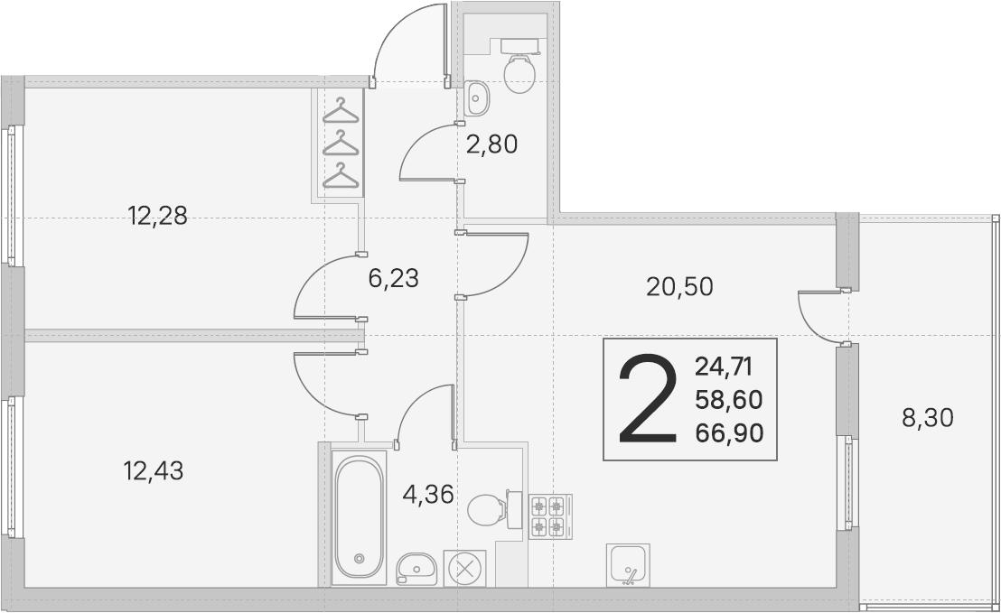3-комнатная 66 м<sup>2</sup> на 1 этаже
