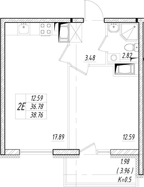 2-комнатная 43 м<sup>2</sup> на 6 этаже