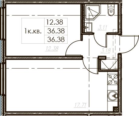 2-комнатная 36 м<sup>2</sup> на 11 этаже