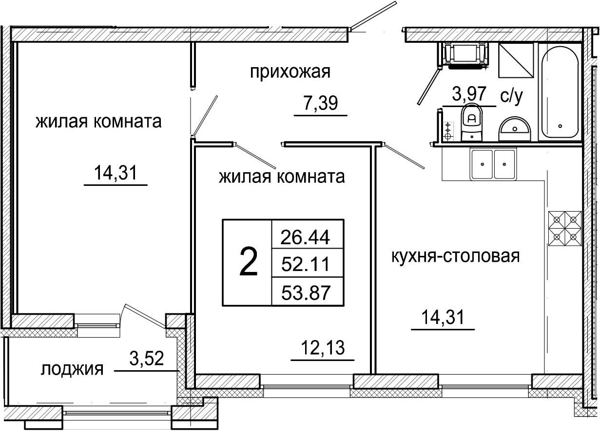 3-комнатная 55 м<sup>2</sup> на 5 этаже
