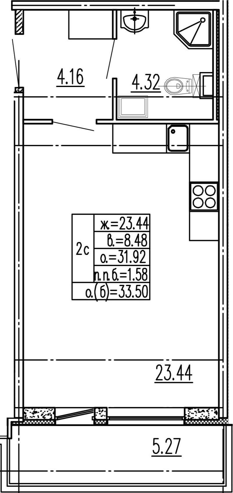 Студия 37 м<sup>2</sup> на 1 этаже