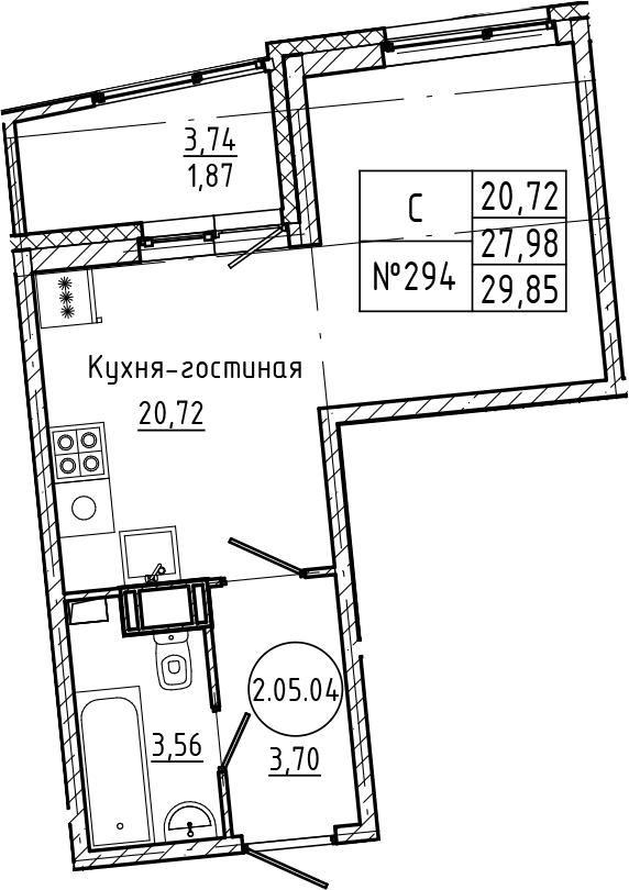 Студия 31 м<sup>2</sup> на 5 этаже