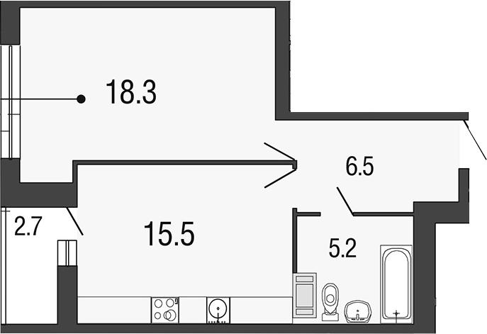 2-комнатная 48 м<sup>2</sup> на 17 этаже