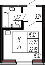 Студия 22 м<sup>2</sup> на 1 этаже