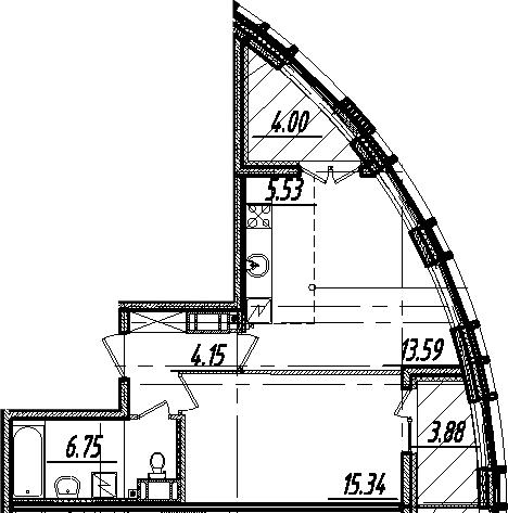 2-комнатная 53 м<sup>2</sup> на 10 этаже