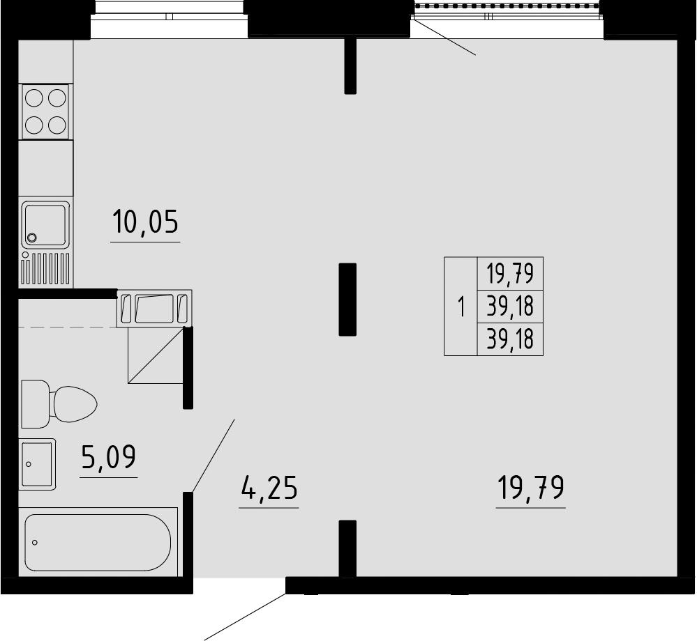 Студия, 39.18 м²
