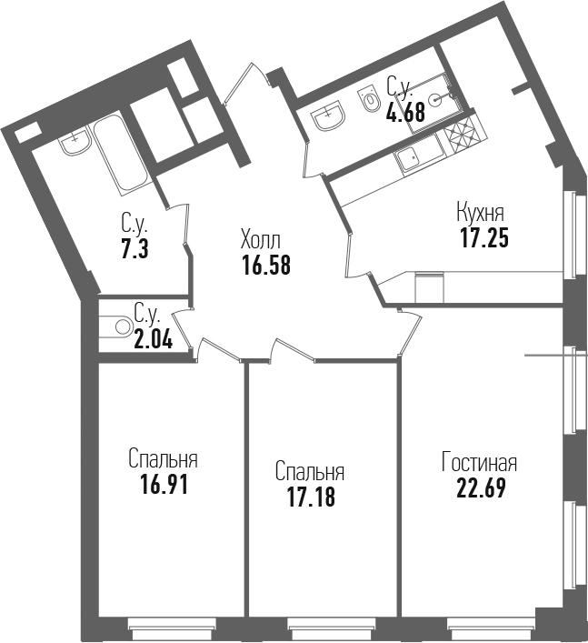 4-комнатная 104 м<sup>2</sup> на 2 этаже