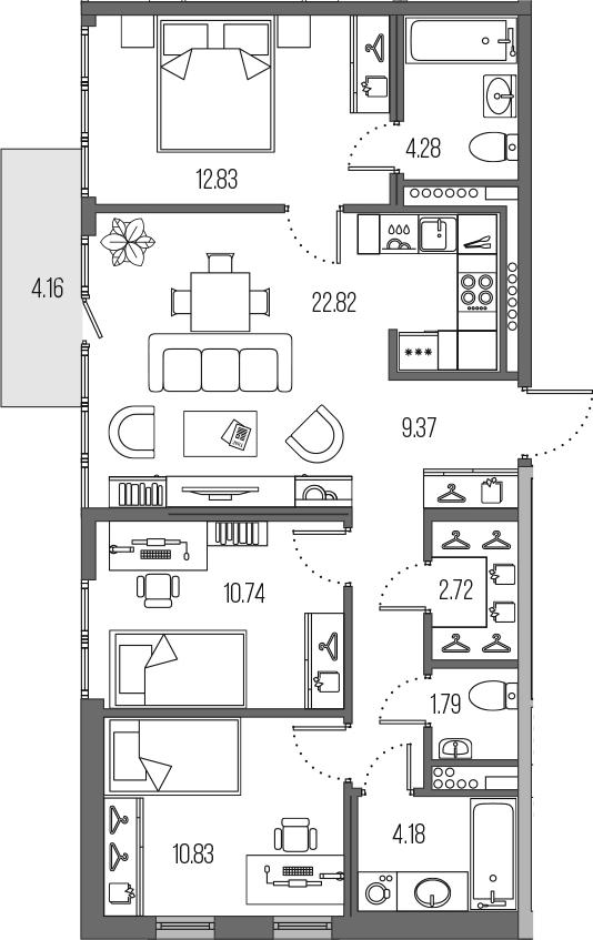4-комнатная 83 м<sup>2</sup> на 7 этаже