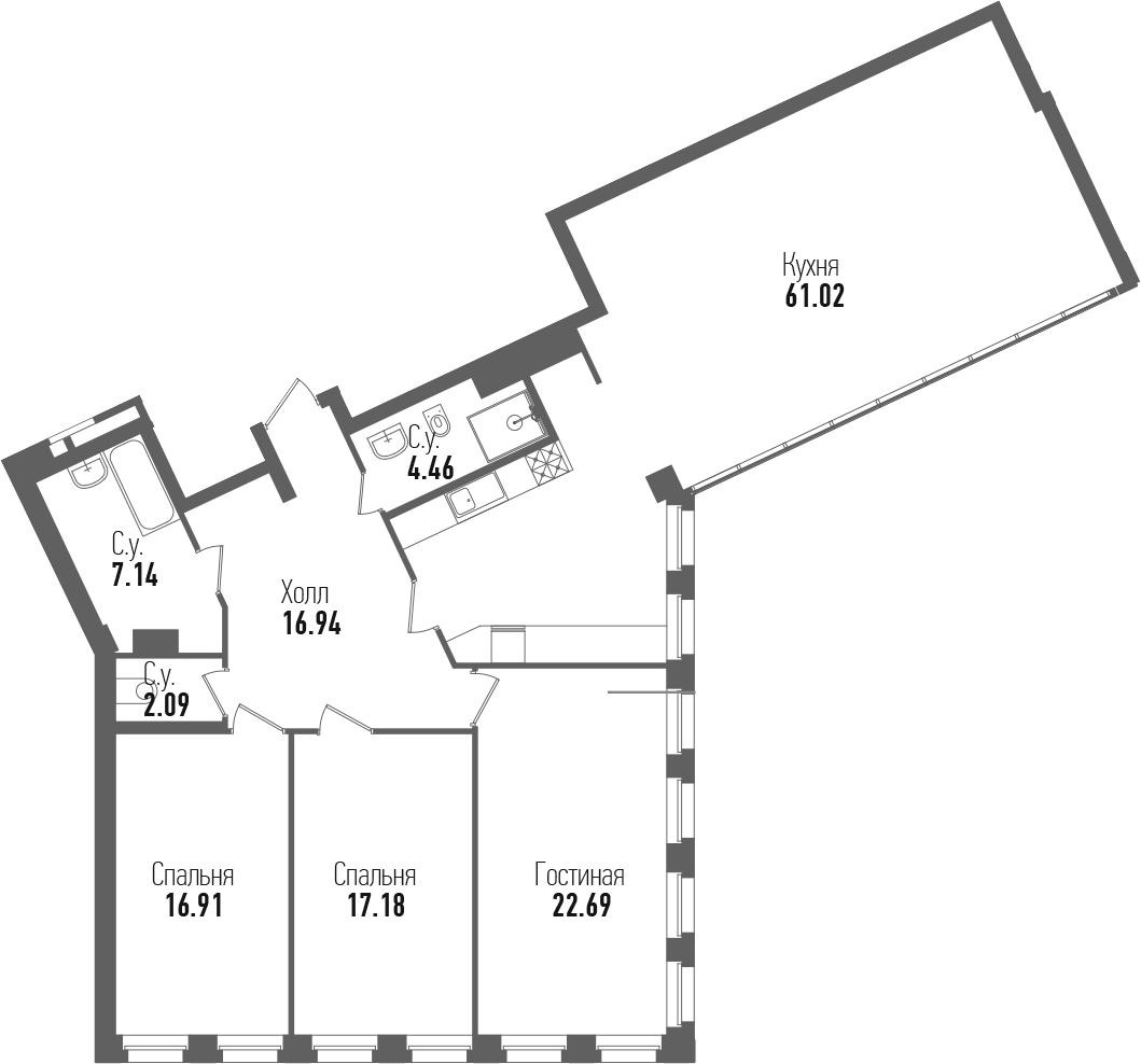 4-комнатная 148 м<sup>2</sup> на 5 этаже