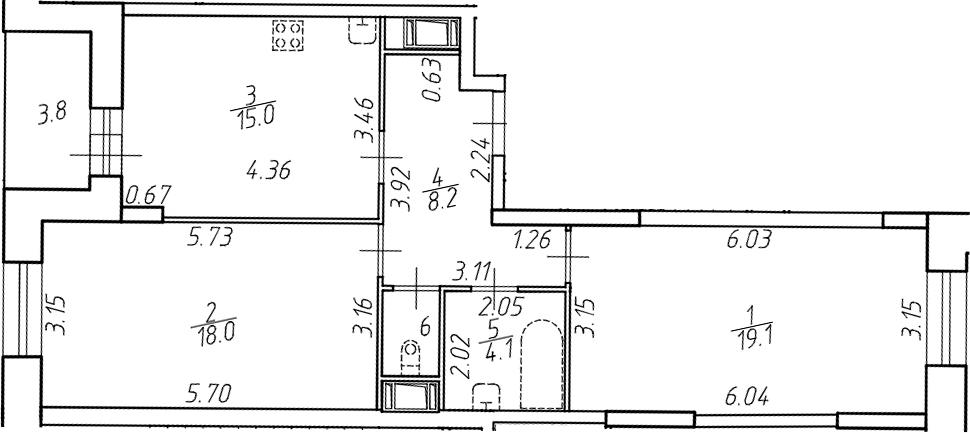 3-комнатная 69 м<sup>2</sup> на 12 этаже