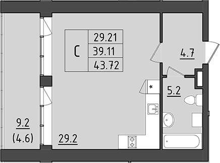 Студия 57 м<sup>2</sup> на 2 этаже