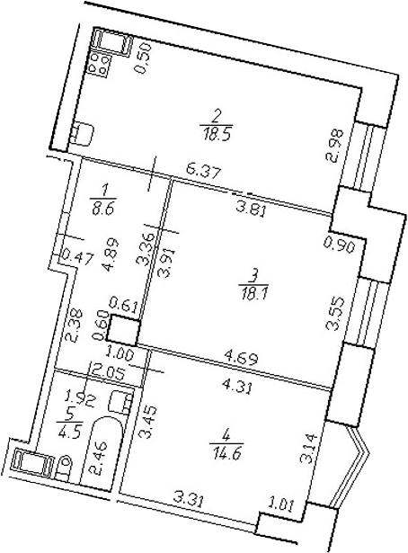 3-комнатная 64 м<sup>2</sup> на 5 этаже