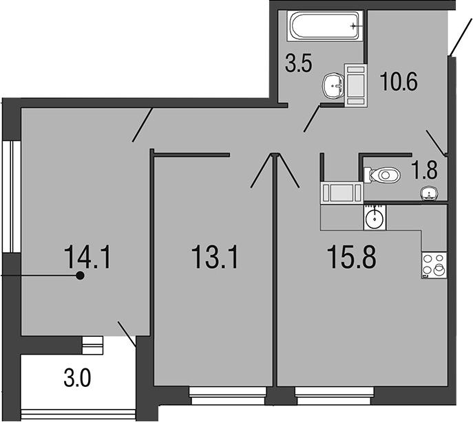 3-комнатная 61 м<sup>2</sup> на 17 этаже