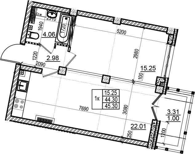2-комнатная 47 м<sup>2</sup> на 6 этаже