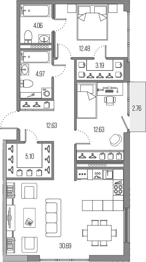 3-комнатная 88 м<sup>2</sup> на 7 этаже