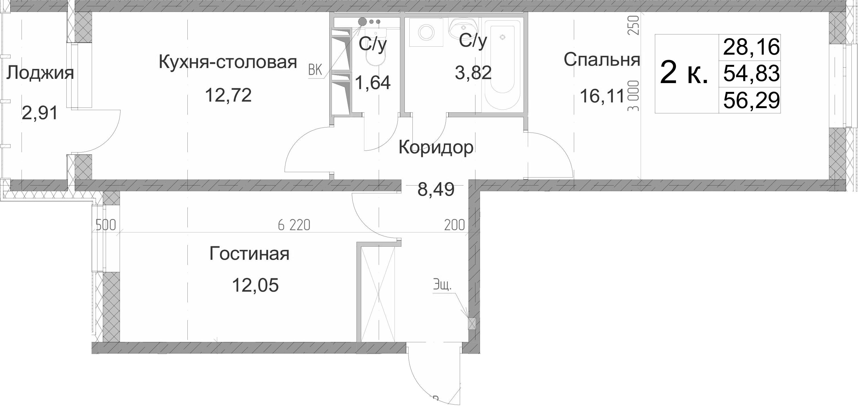 2-к.кв, 57.74 м²