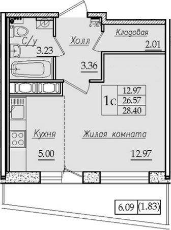 Студия 32 м<sup>2</sup> на 8 этаже