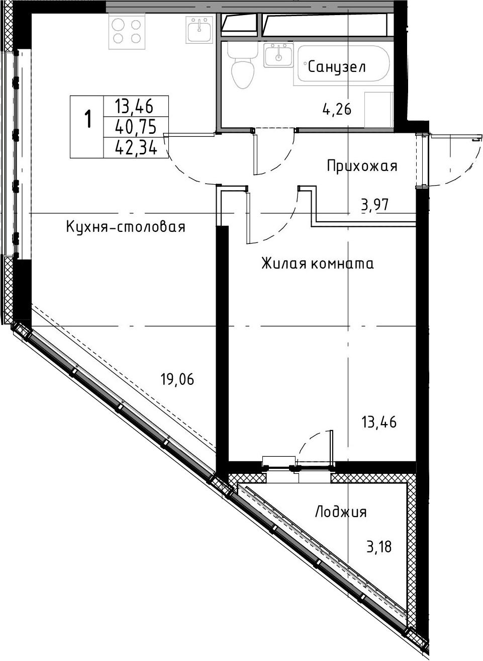 2-к.кв (евро), 43.93 м²