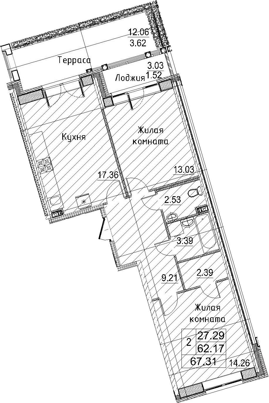 3-к.кв (евро), 77.28 м²